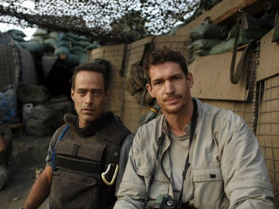 "Sebastian Junger and Tim Hetherington during the making of ""Restrepo"""